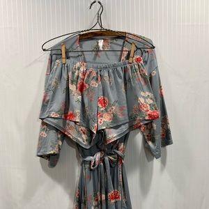 Flora 2pc Robe/Short Set Medium Floral Print Soft